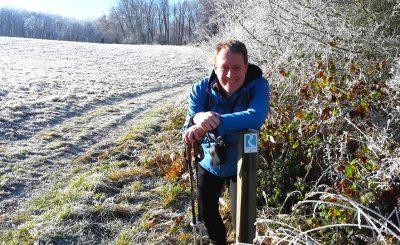 Eisige Wiesen auf der Rheinsteig Etappe 10