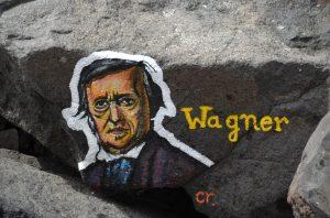Wagnerportrait auf Stein gemalt