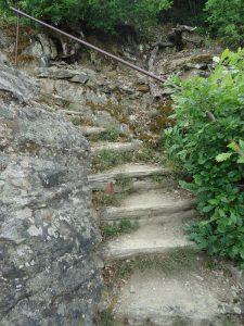 Teils recht steil, teils über Stufen geht es bergauf.