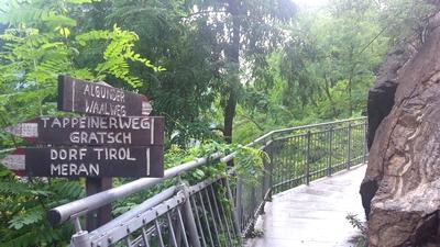 Links geht's auf den Tappeiner Weg, wir aber nehmen die Brücke und den Algunder Waalweg.