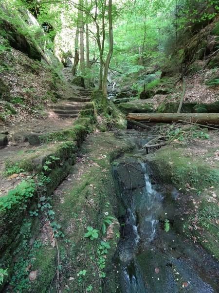 Über steile Stufen geht es hinab in die Wolfsschlucht zwischen den beiden Felsen.