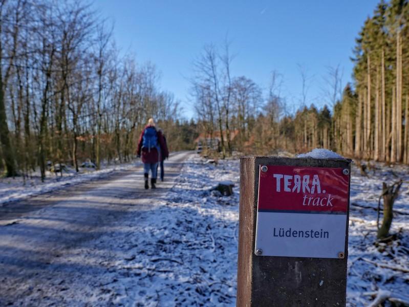 Wanderer auf dem TERRA.track Lüdenstein und Wegweiser
