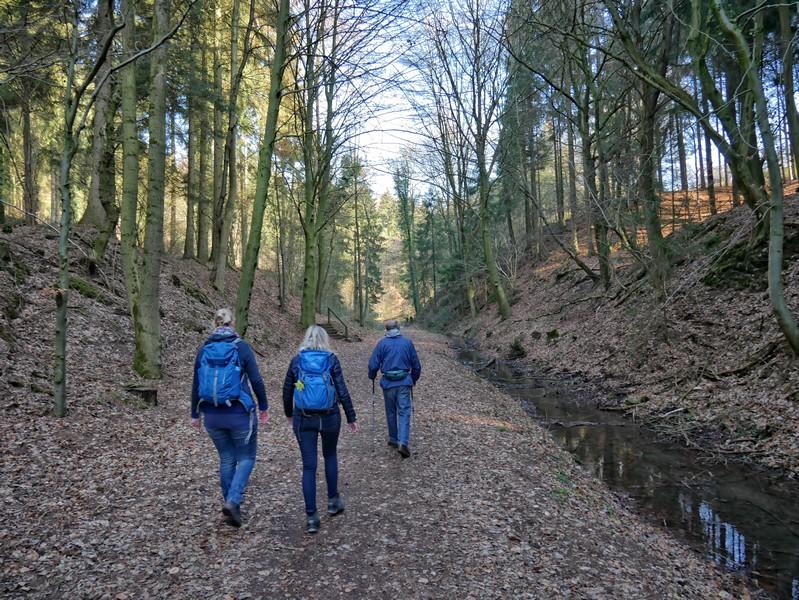 Weg entlang eines Bachlaufs mit drei Wanderern