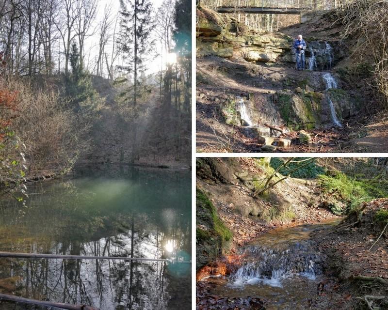 Links der grüne See, rechts oben die Wasserfälle und rechts unten der Bachlauf.