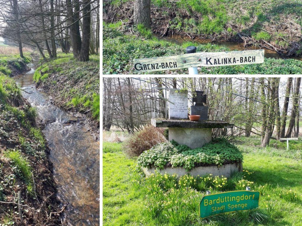 Das Bild ist eine Collage aus drei Fotos. Sie zeigen den Fluss Warmenau, den Kalinka-Bach und das Kriegerdenkmal.