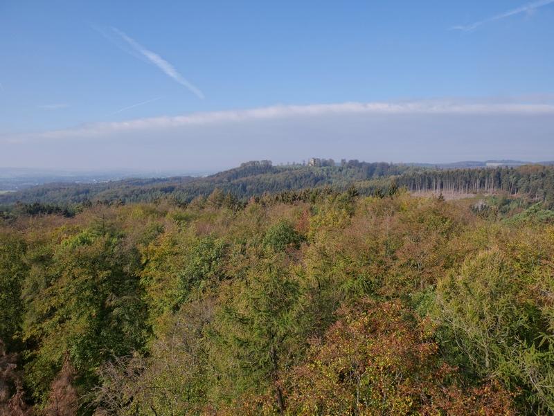 Das Bild zeigt den Ausblick vom Aussichtsurm Ottoshöhe auf dem TERRA.track Drei Türme.
