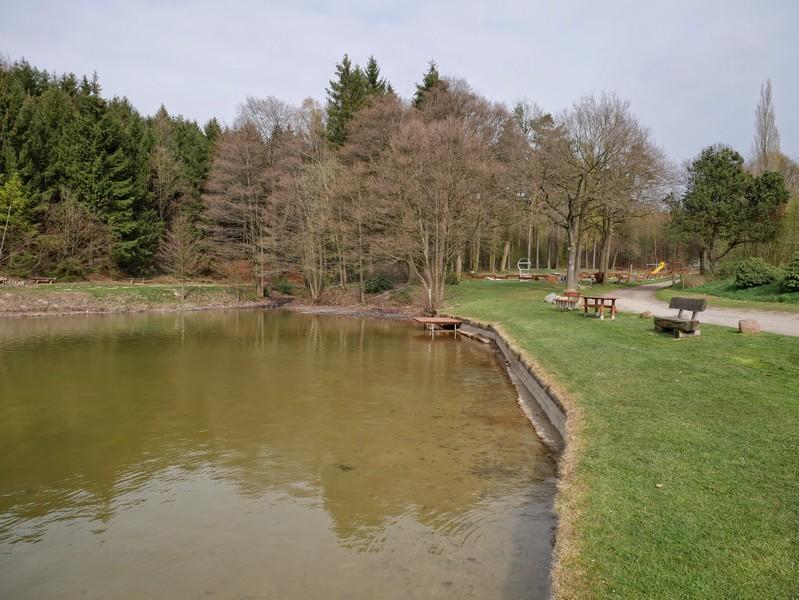 Das Bild zeigt den Badeteich des Campingplatzes am Schmittenhöhenweg.