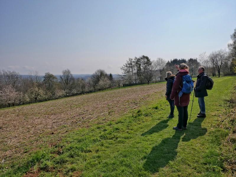 Das Bild zeigt drei Wanderer am Hügelhang, die die Aussicht über Holzhausen und das Osnabrücker Land genießen.