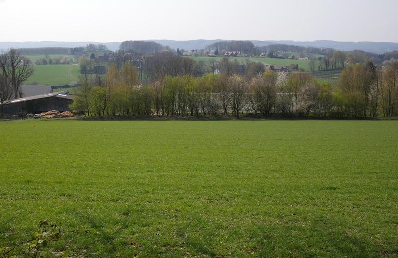 Das Bild zeigt den Ausblick vom TERRA.track Hüggelrundweg über Felder, bis nach Hagen und zum Teutoburger Wald.