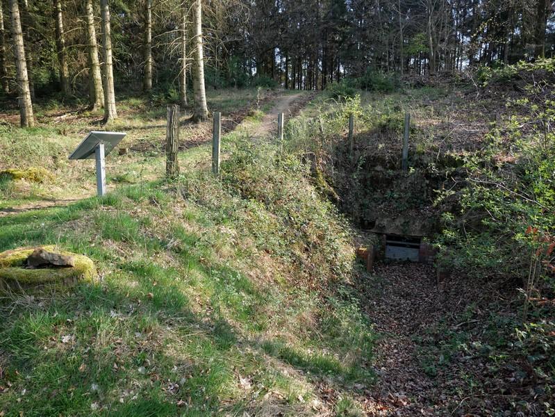 Das Bild zeigt links die Schautafel auf der Larberger Egge und rechts den Eingang des ehemaligen Bunkers.