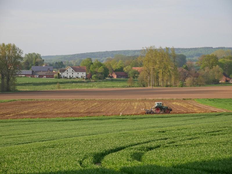 Das Bild zeigt einen Traktor auf einem Feld.