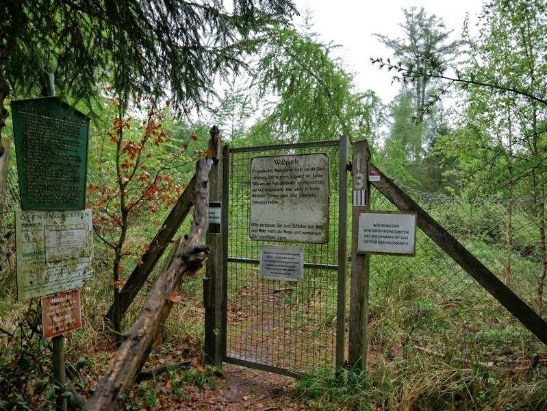 Das Bild zeigt das östliche Gatter des Wildparks.
