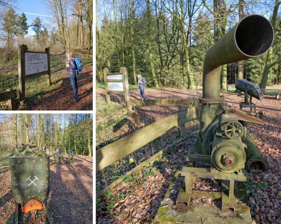 Fotocollage aus drei Bildern, die alte Geräte der Zeche und das Infoschild zeigen.