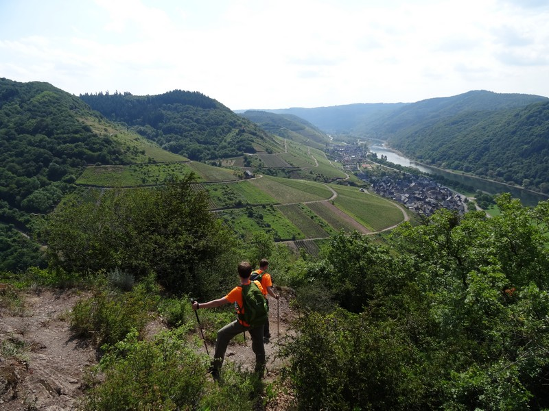 Das Bild zeigt den steilen Weg und zwei Wanderer im Bremmer Calmont.