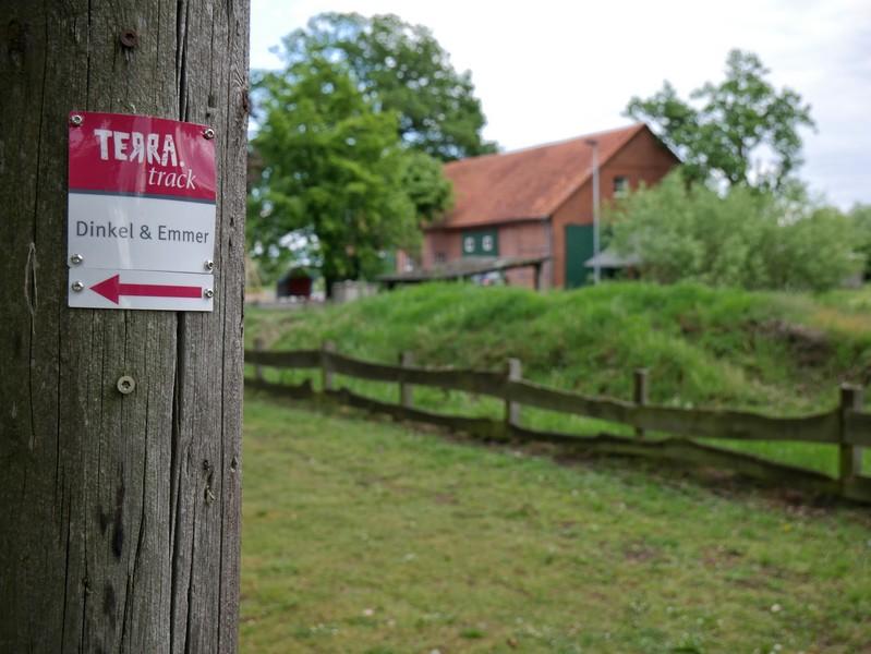 Das Bild zeigt im Vordergrund den Wegweiser für den TERRA.track Dinkel und Emmer und im Hintergrund ein Gebäude des Dinkelhofs Horstmann.