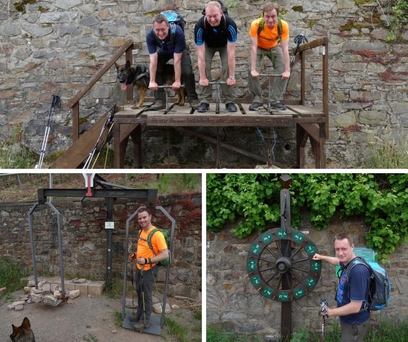 Das Bild zeigt eine Collage von mehreren Bildern, auf denen die Wanderer die einzelnen Unterhaltungslemente am Moselsteig ausprobieren.