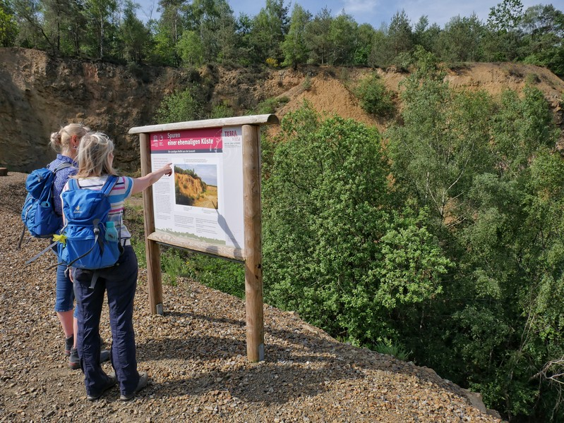 Das Bild zeigt zwei Wanderer an der Info-Tafel im Steinbruch bei Ueffeln auf dem Hünenweg.