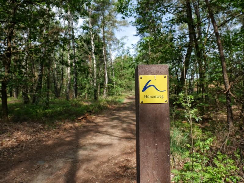Das Bild zeigt einen Pfahl mit dem blau-gelben Schild vom Hünenweg.
