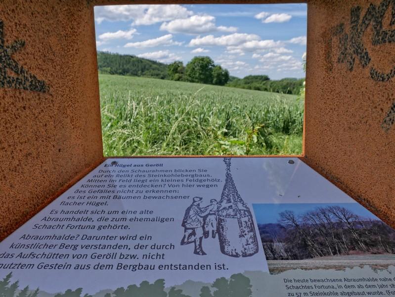 Das Bild zeigt eine Sehstation am Bergmannsweg Kirchdornberg.