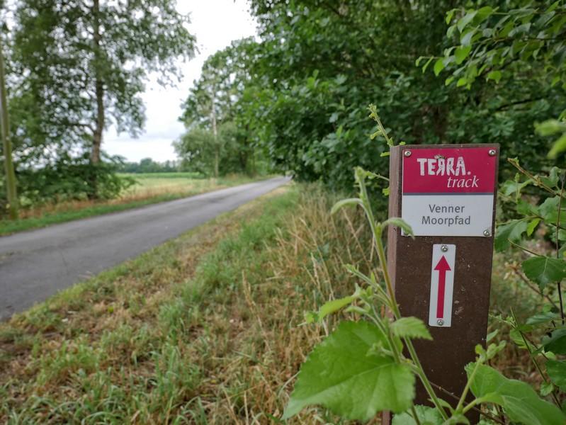 Das Bild zeigt einer der Wegweiser auf dem TERRA.track Venner Moorpfad .