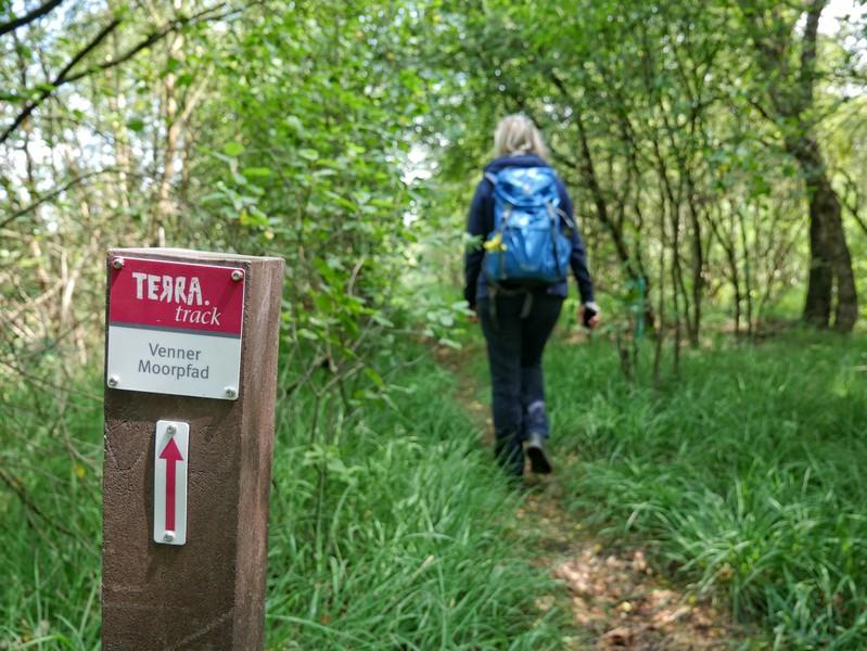 Das Bild zeigt den schmalen Weg, Meike und den rotweißen Wegweiser auf dem TERRA.track Venner Moorpfad.