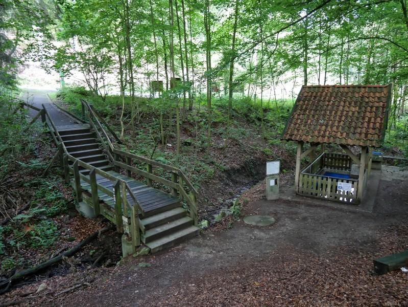 Über die Treppen erreichen wir vom Parkplatz kommend die hübsche Wassertretstelle.