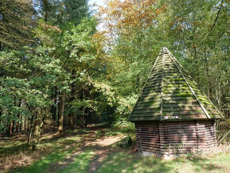 Die kleine Köhlerhütte beherbergt auch die Markierung für unseren TERRA.track Wildstein.