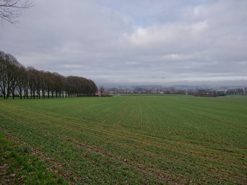 Vom Wanderparkplatz aus sehen wir links die Beutlingsallee und dahinter Wellingholzhausen liegen.