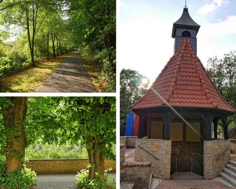Eine hübsche Allee führt uns zur Kirche, dem Friedhof und zu Marienbrunnen (rechts).