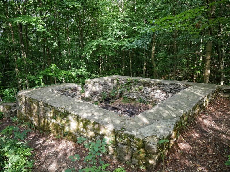 Wir treffen am Wegesrand auf Teile der früheren Wehranlage im Nettetal. Sie trägt landläufig den Namen Wittekindsburg.