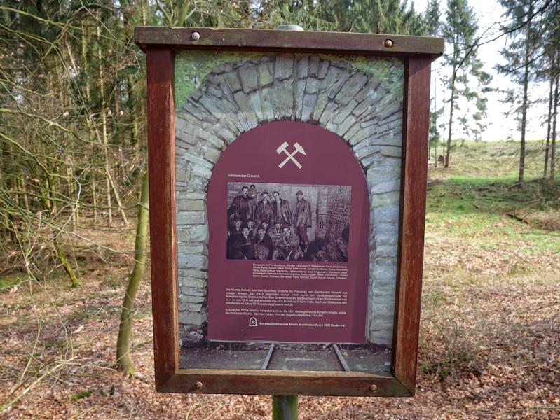 Die vorbildlich gemachten Info-Tafeln entlang des Weges versorgen uns immer wieder mit den nötigen Infos zur Bergbaugeschichte Ibbenbürens.