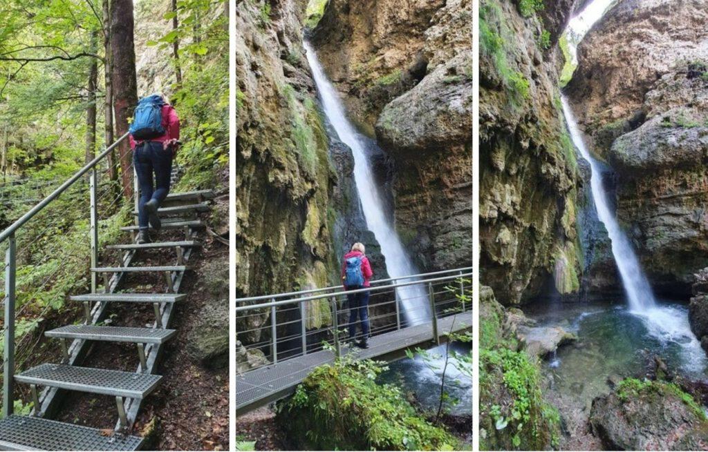 Ein paar letzte Stufen und dann ist der größte der Hinanger Wasserfälle erreicht.