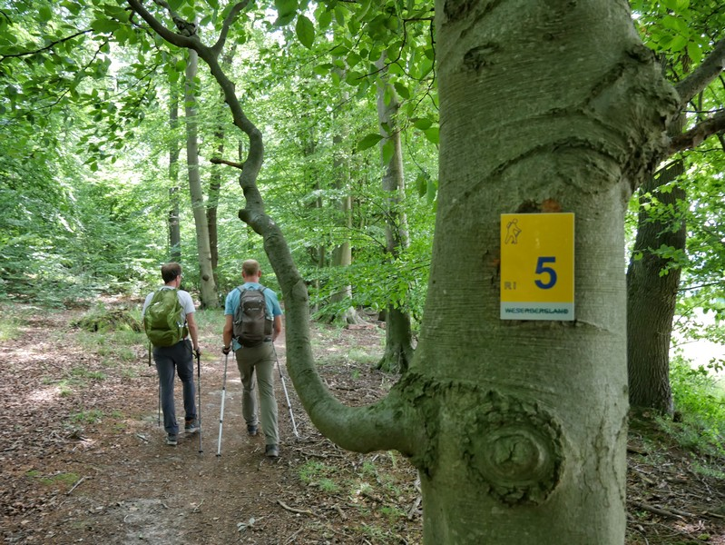 Das Wegezeichen der Drei-Burgen-Route ist etwas schmucklos und trägt den Titel der Tour nicht in sich.