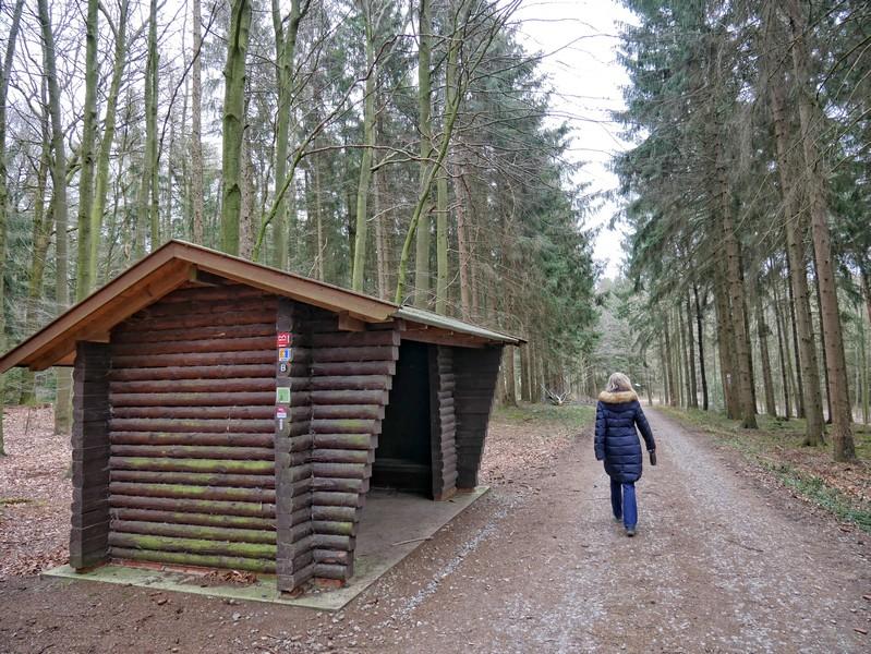 Kurz nach der Schmittenhöhe passieren wir diese Schutzhütte. Hier treffen sich eine ganze Reihe Wanderwege, zum Beispiel der DiVa Walk oder der Bersenbrücker Landweg.