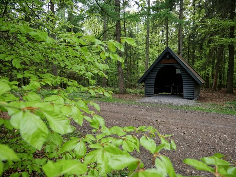 Die einzige Rastmöglichkeit auf dem Höhenzug ist die kleine schmucke Waldhütte.